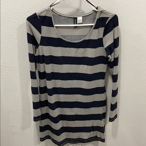 Striped Fitted Long-sleeve Dress